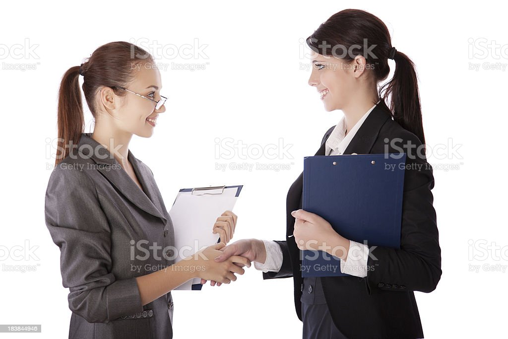 business women shaking hands royalty-free stock photo