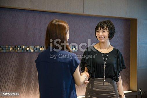 589445574 istock photo Business women shaking hands 542588996