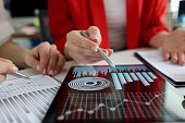istock Business women studying charts and diagrams on digital tablet closeup 1299055072