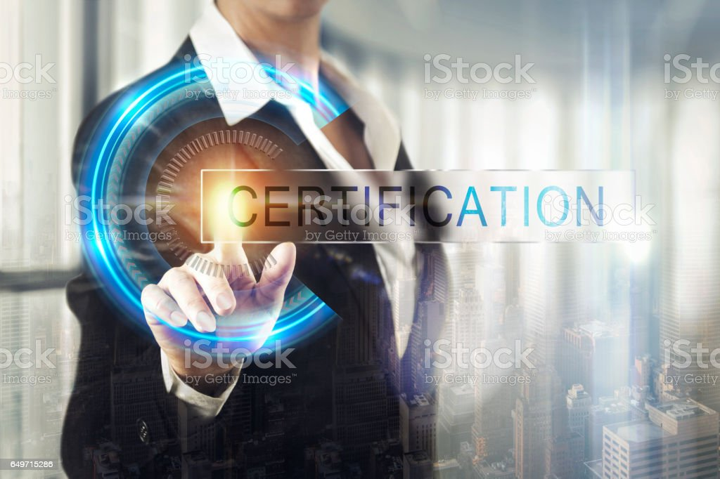 Business women touching the certification screen - foto stock