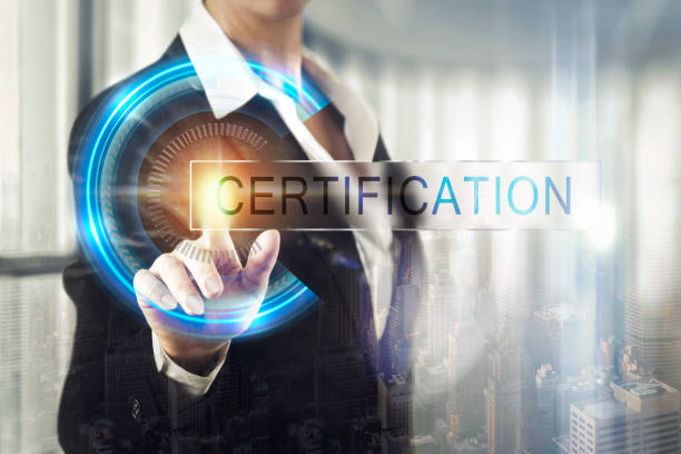 business women touching the certification screen - certificate stock photos and pictures