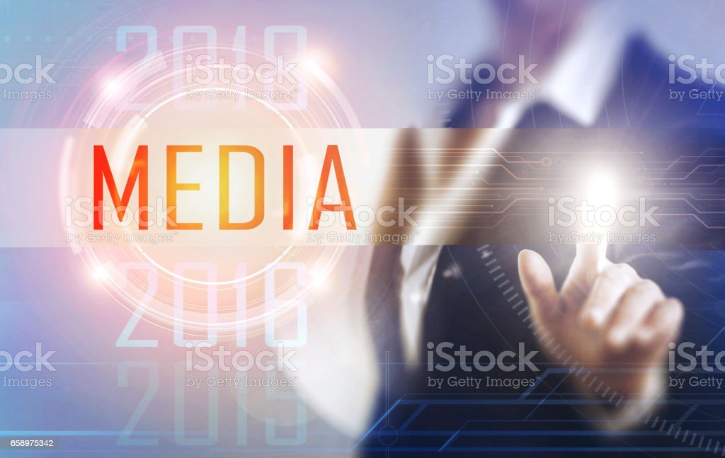Business women touching the Media screen royalty-free stock photo