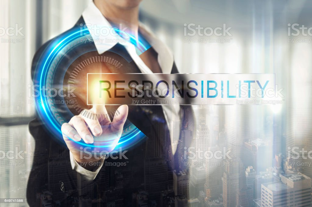 Business women touching the responsibility screen stock photo
