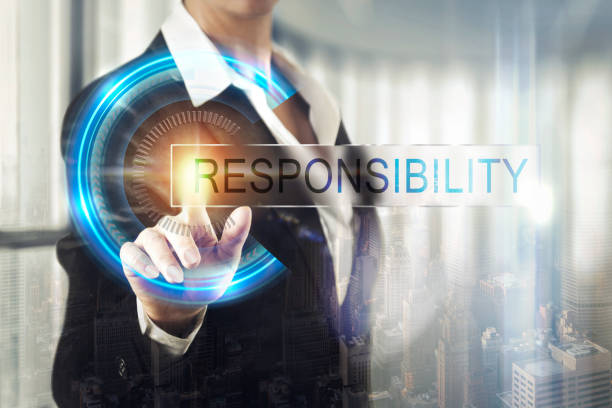 Business women touching the responsibility screen stock photo