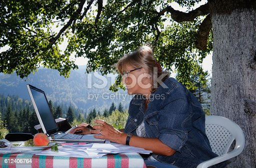 istock Business women working outdoors on a laptop 612406764