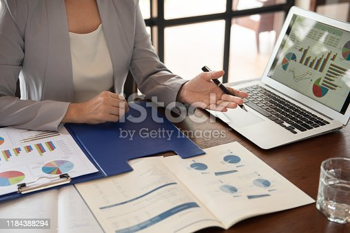 Business women reviewing data in financial statement with coworker analyzing market data research for new business startup.
