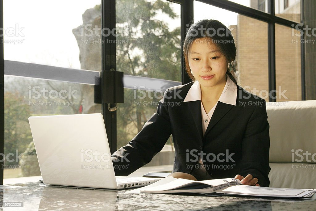 business women working with laptop royalty-free stock photo