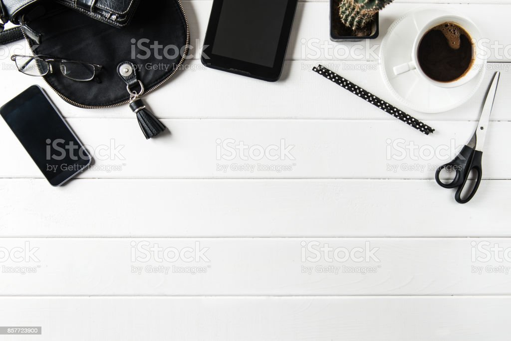 Business work desk with various work-related items stock photo
