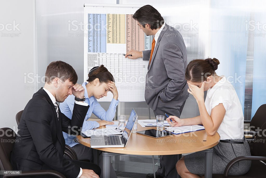 Business workers getting frustrated with their work stock photo