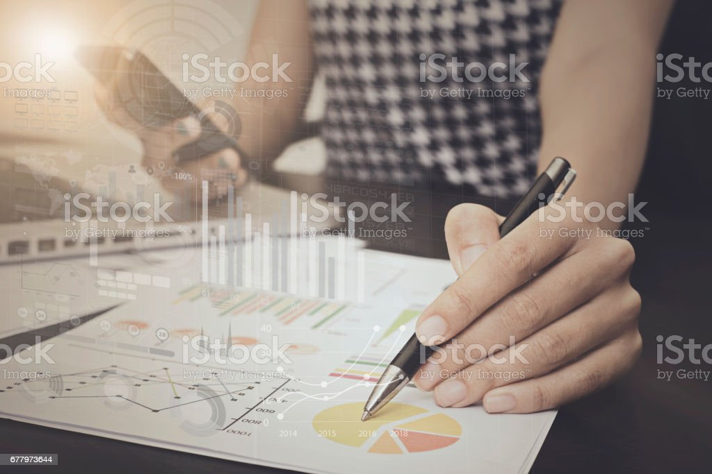 business working about business strategy and investment report graph on desk office. royalty-free stock photo
