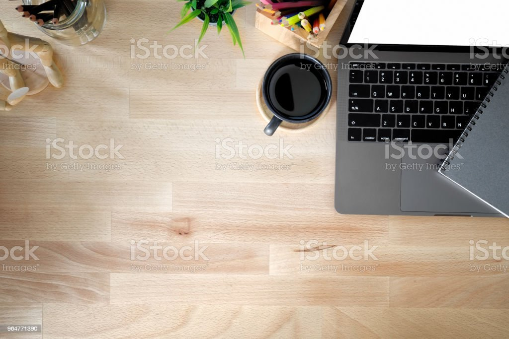 Business workspace, Office wooden desk coffee mug and office accessory with copy space. royalty-free stock photo