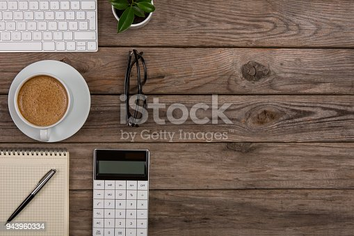 istock Business workspace on top view 943960334