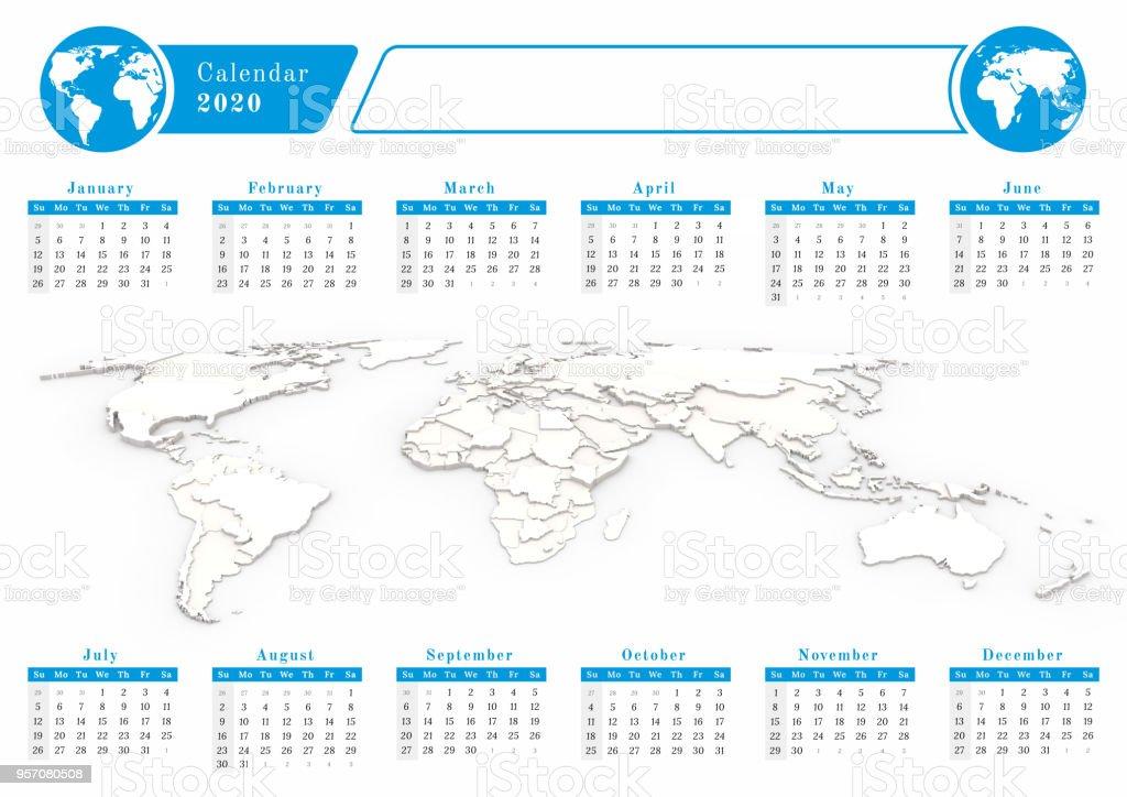 Calendario Mundial 2020.Calendario Del Mundial De Negocios 2020 En Tema Azul Foto De