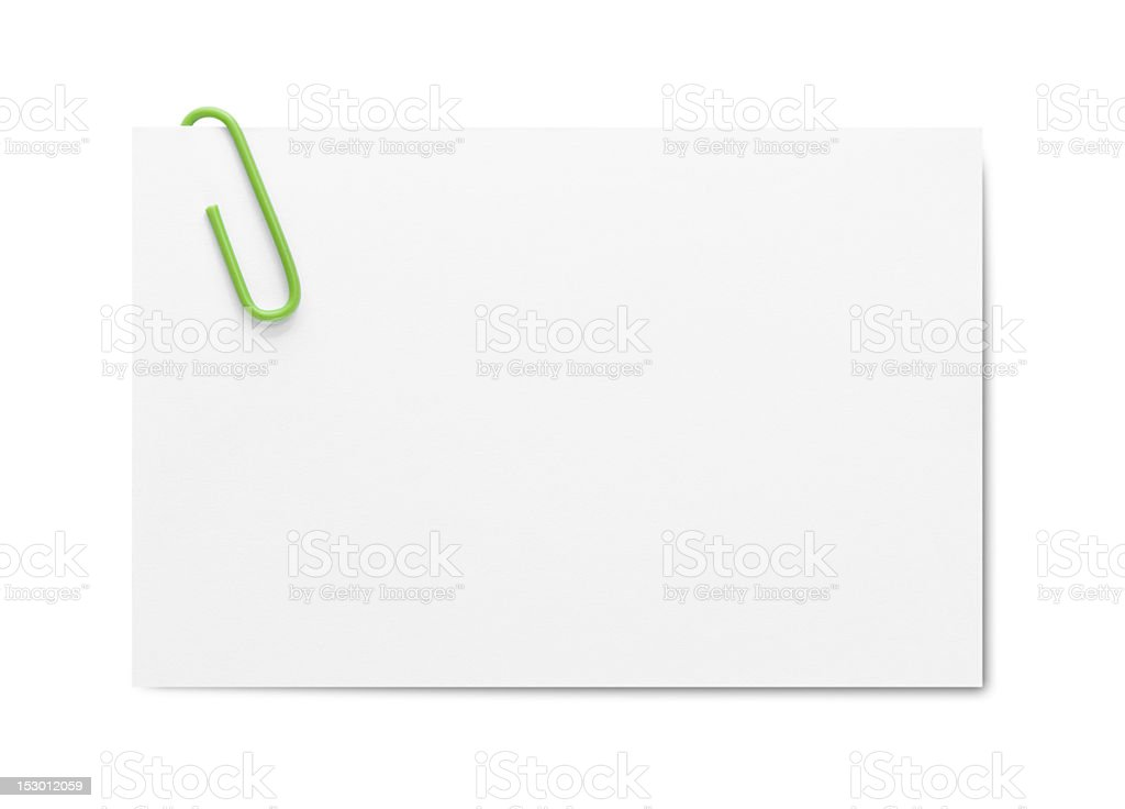 Businesscard with paper clip stock photo