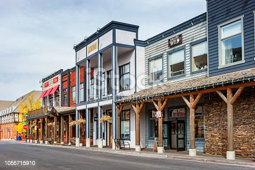 Stock photograph of a row of traditionally built businesses in downtown Jackson, Wyoming, USA.