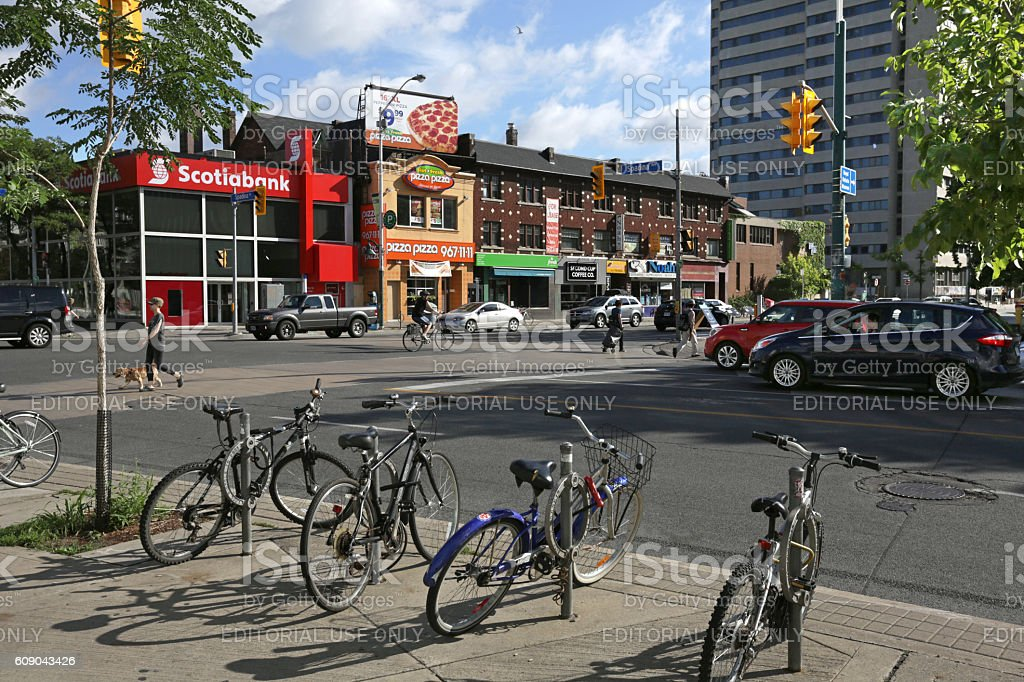 Businesses on Bloor Street at Spadina Avenue, Toronto, Canada, Summer stock photo