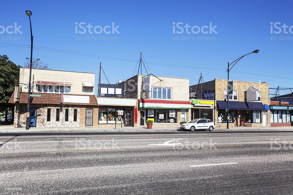 Businesses on Pulaski  Road, West Elsdon.  Chicago royalty-free stock photo