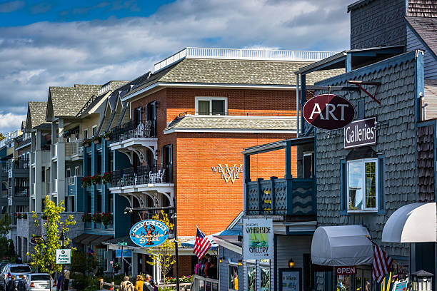 Businesses on West Street in downtown Bar Harbor, Maine. stock photo