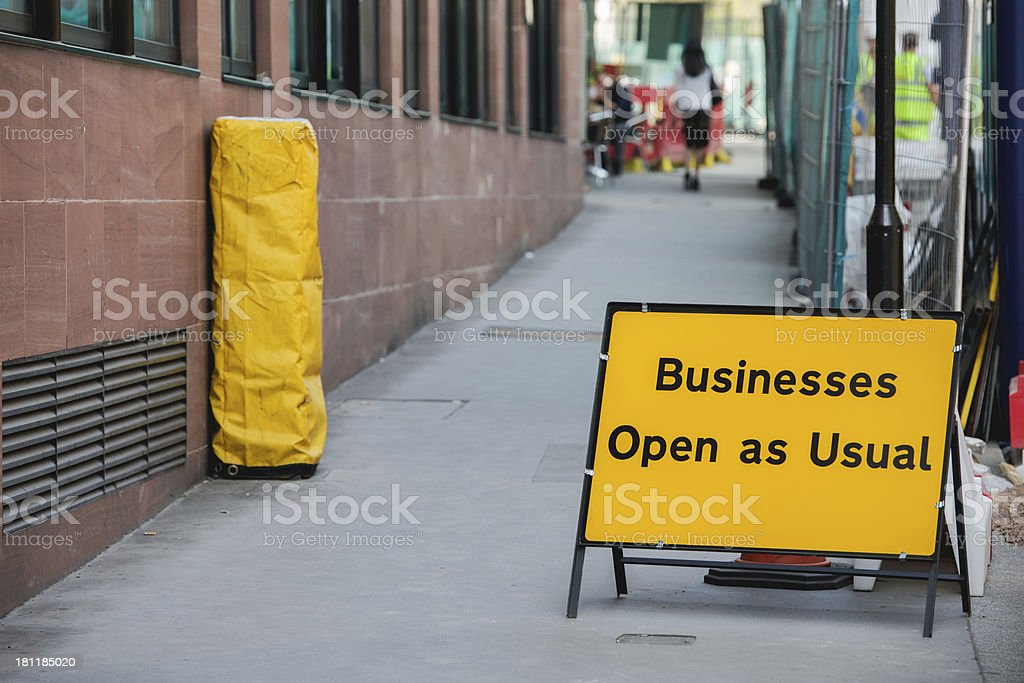 Businesses open as usual sign royalty-free stock photo