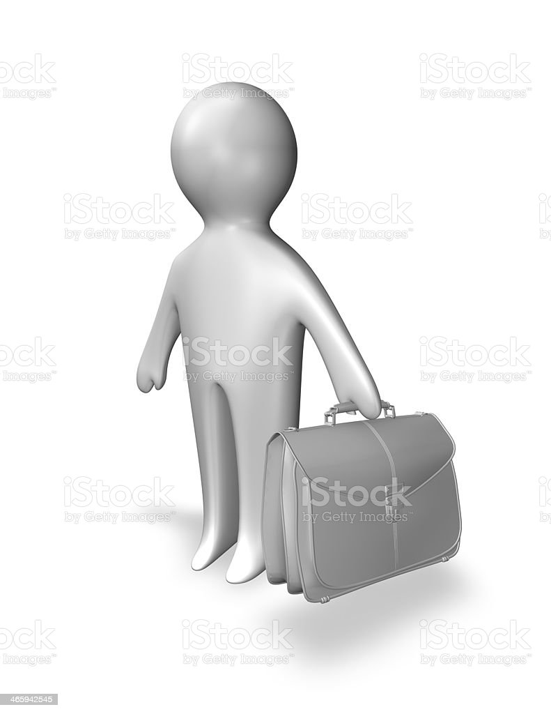 businessman 3d abstract guy with bag isolated stock photo