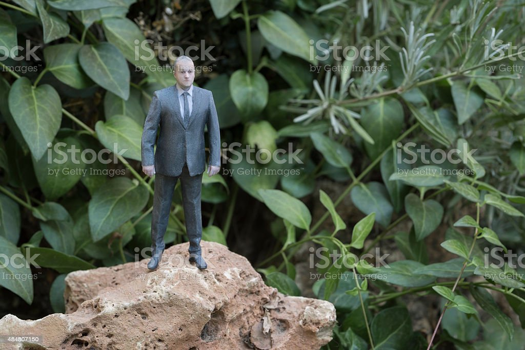 Businessman Action Figure on the Rock in Nature royalty-free stock photo