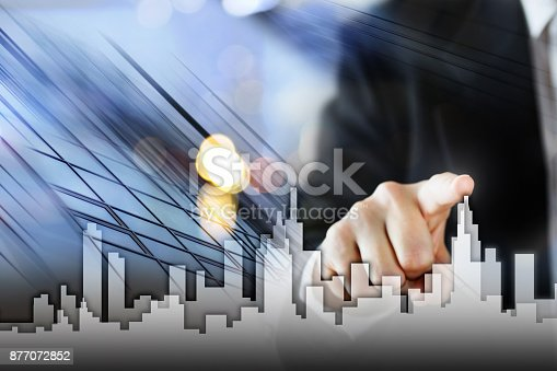 istock Businessman Activate Growth Process, choosing house, real estate city concept. Skyline Hand pressing the house icon on virtual screen. Business, technology, internet and networking concept. Copy space 877072852
