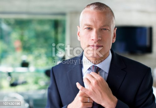 973213156 istock photo Businessman adjusting necktie 107430196