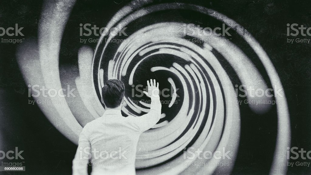 Businessman against abstract vortex background stock photo