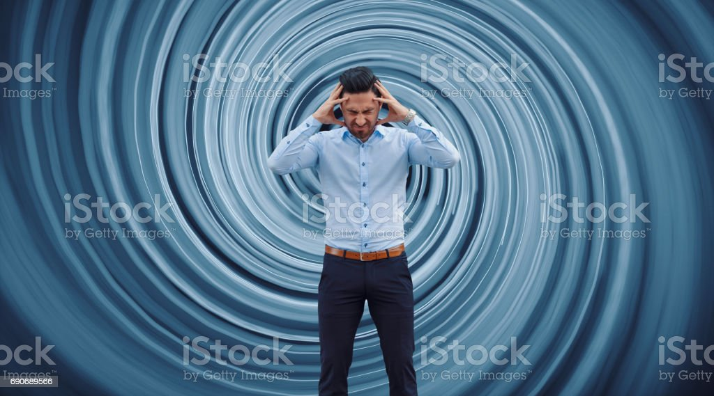 Businessman against vortex background stock photo
