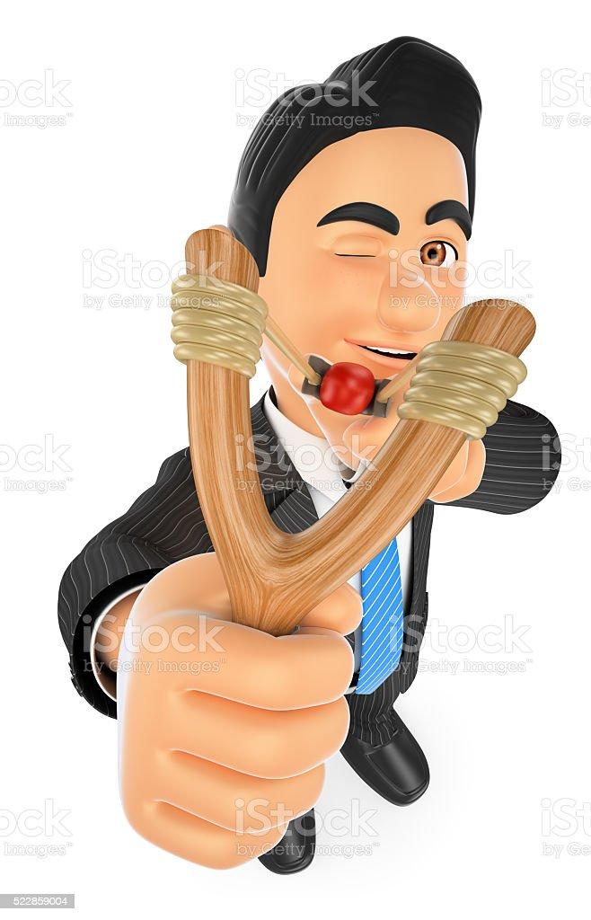3D Businessman aiming with a slingshot stock photo