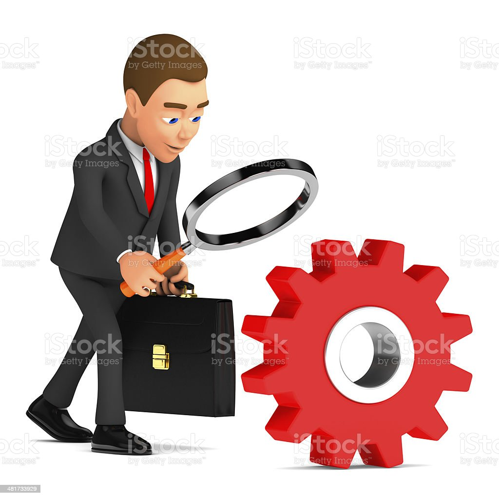 businessman analyzes gear through a magnifying glass stock photo