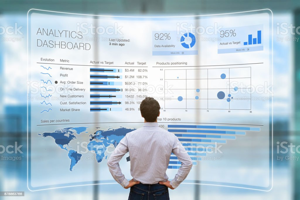 Businessman analyzing business analytics or intelligence dashboard, VR screen, KPI stock photo