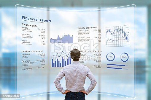 istock Businessman analyzing financial report data company operations, balance sheet, fintech 878863400