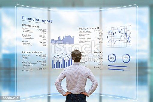 878863400istockphoto Businessman analyzing financial report data company operations, balance sheet, fintech 878863400