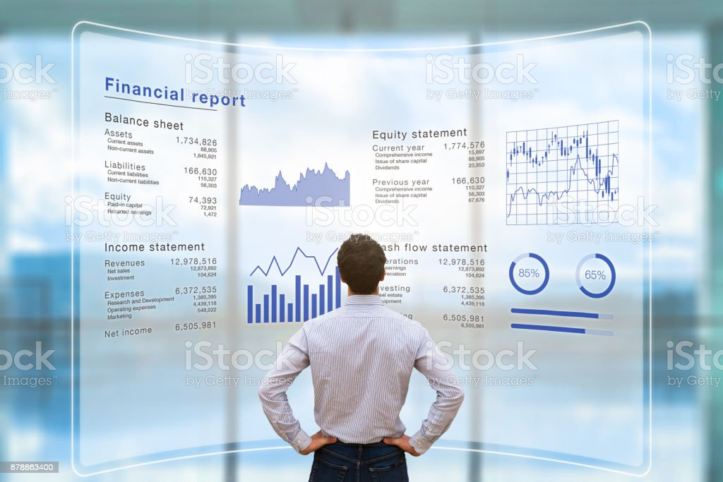 Businessman analyzing financial report data company operations, balance sheet, fintech stock photo