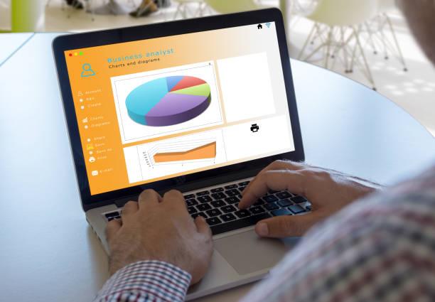 Businessman analyzing sales and marketing data stock photo