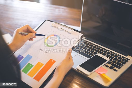 996183898 istock photo Businessman analyzing working discussing the charts and graphs showing the results. 984630372