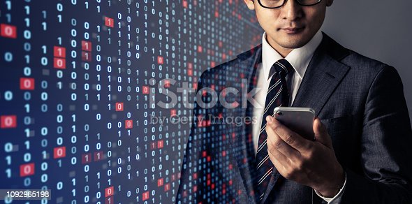 Businessman and binary codes. Network security concept.
