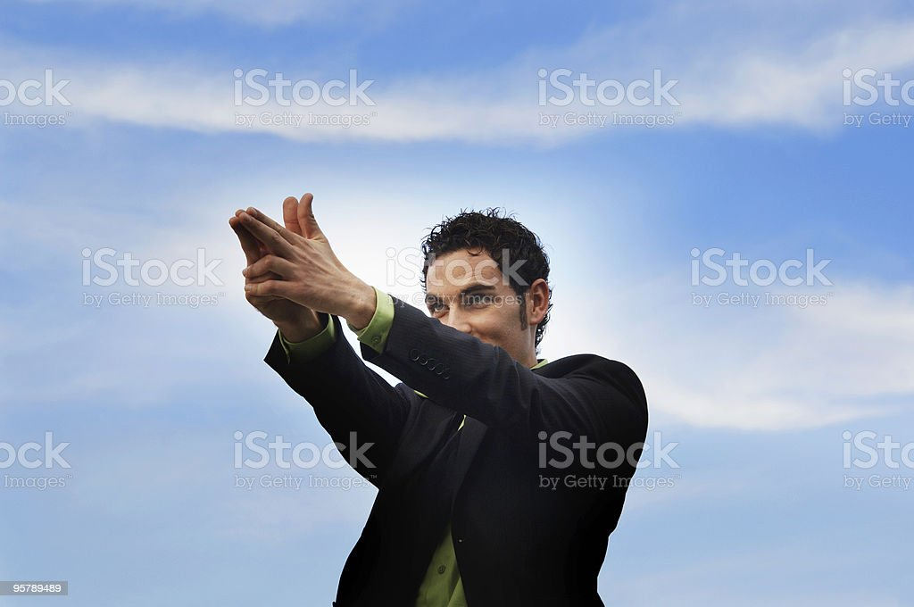 Businessman and blue sky royalty-free stock photo