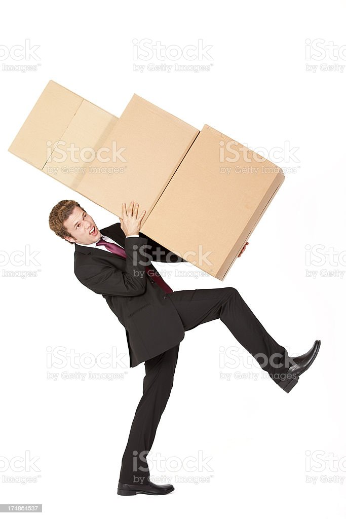 Businessman and Boxes royalty-free stock photo