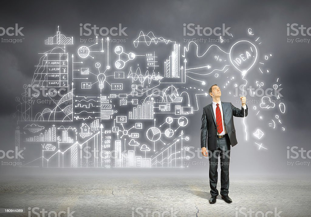 Businessman and business sketch royalty-free stock photo