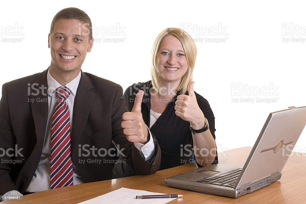 Businessman and businesswoman expressing success royalty-free stock photo