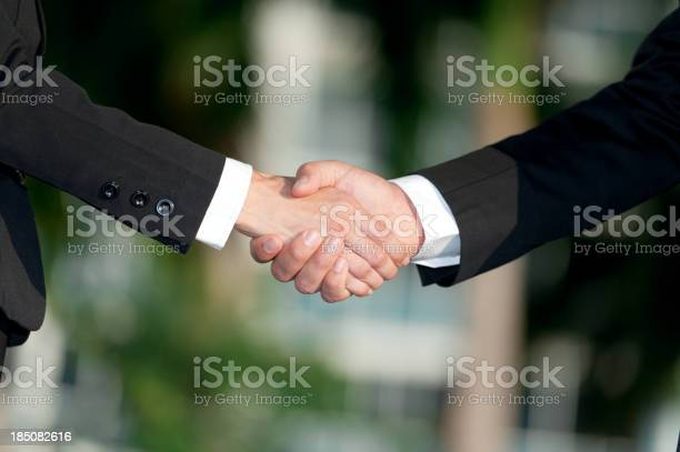 Businessman And Businesswoman Handshake Stock Photo - Download Image Now