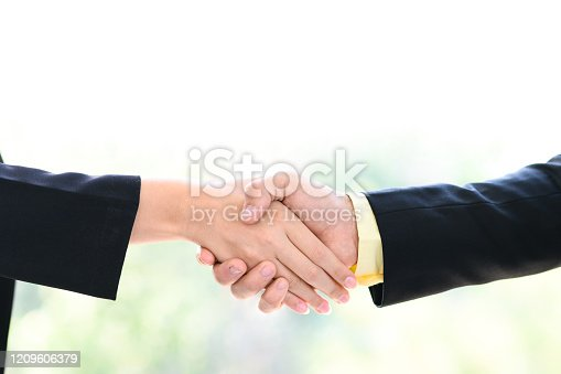 635949862 istock photo Businessman and businesswoman handshake with blurred background. Business partnership meeting concept. 1209606379