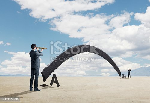 An arching line connects point a to point b as a businessman and businesswoman look at each other through their spyglasses as they stand on each respective point.