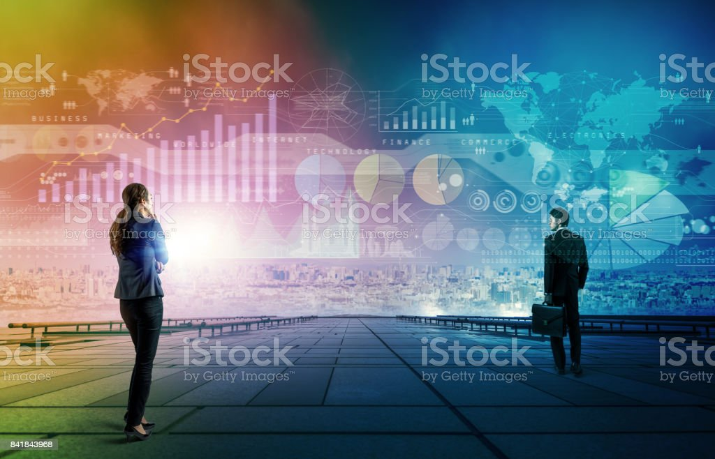 ebcea200cb Businessman and businesswoman looking at business information. abstract  mixed media. - Stock image .