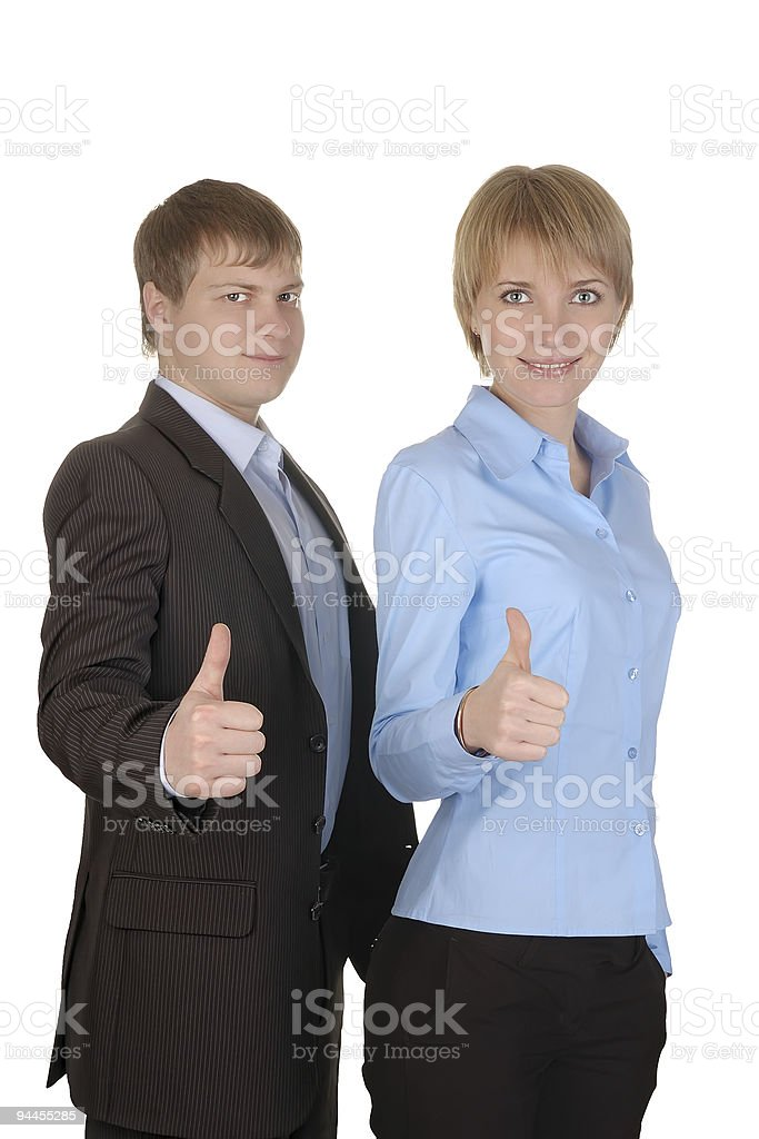 businessman and businesswoman with thumbs up on an isolated whit royalty-free stock photo