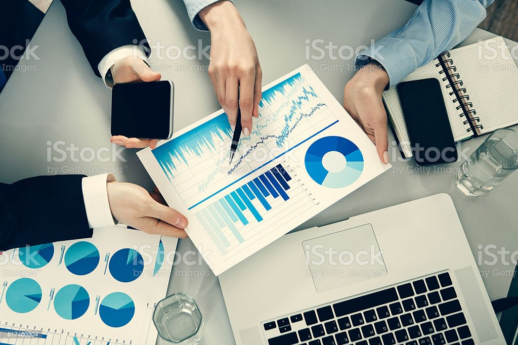 Businessman and businesswoman working stock photo