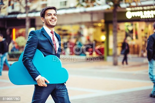 istock Businessman and cloud computing concept 519687780