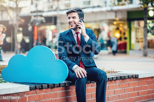 istock Businessman and cloud computing concept 542719474